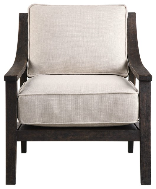 Exposed Dark Wood Frame Box Cushion Accent Chair, Arm Midcentury Modern