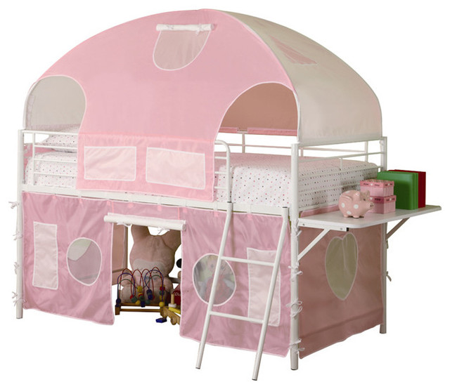 Girls White Metal Pink Tent Twin Bunk Loft Bed With Shelf Low Safe Play Bunkbed.