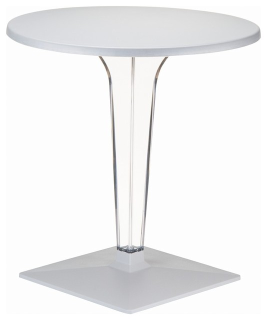 Compamia Ice 24 Round Dining Table With Transparent Base, Silver.