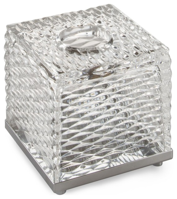 Luxe Boutique Tissue Box Holder Cover Tray Dispenser Case, Hand Blown Glass