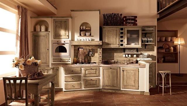Cucine rustiche piastrellate o in muratura in campagna - Pitture per cucine rustiche ...