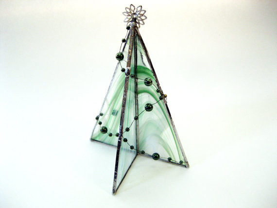 Freestanding Stained Glass Christmas Tree Table Decoration