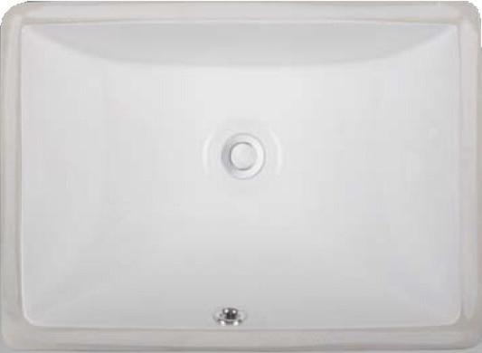"Vanity Fantasies ""dart"" Porcelain Rectangular Undermount Vanity Sink, White."