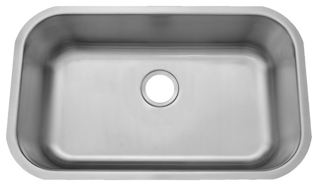 ADA Compliant 20 Gauge Stainless Steel Undermount Sink, Large Single Bowl  Traditional Kitchen