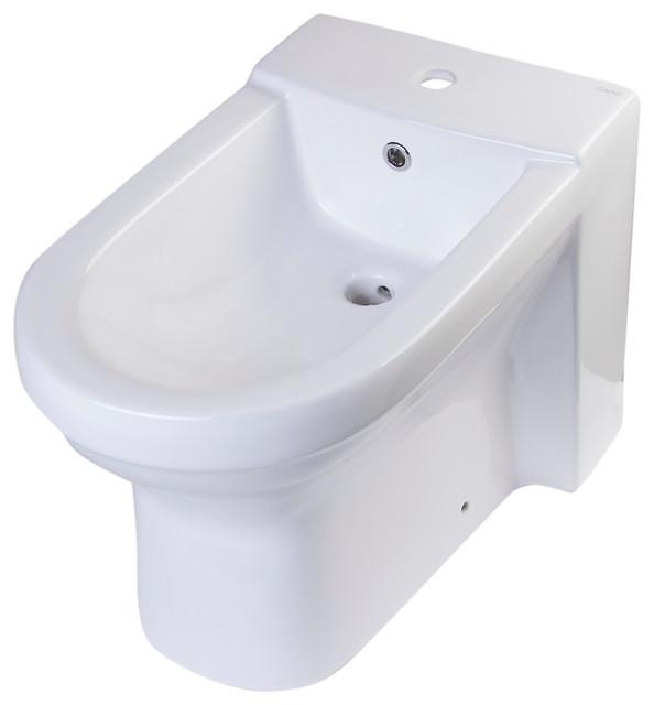 Bathroom Bidet ceramic bidet with elongated seat, white - contemporary - bidets