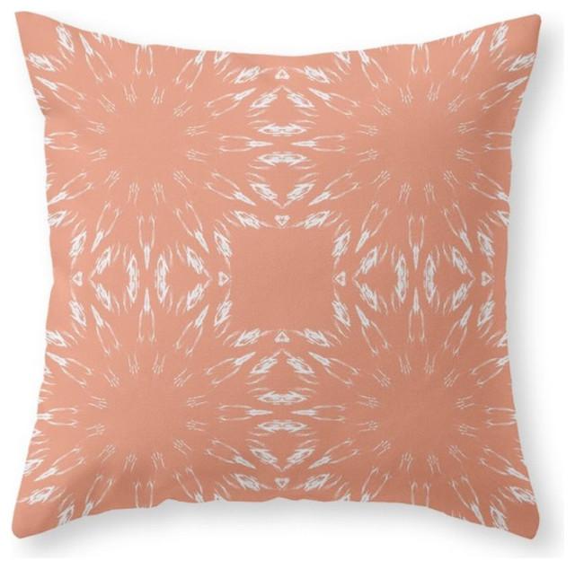 Peach Color Burst Throw Pillow Cover Contemporary Decorative