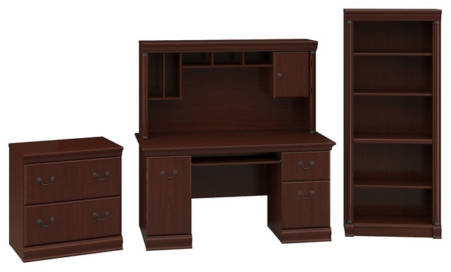 Fabulous Office Desk With Hutch Cabinet And Bookcase Cherry Download Free Architecture Designs Scobabritishbridgeorg