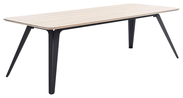 Fold Rectangular Natural Wood Dining Table With Metal Base, Black, Small
