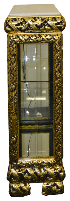 Black And Gold Curio Cabinet With Marble Top