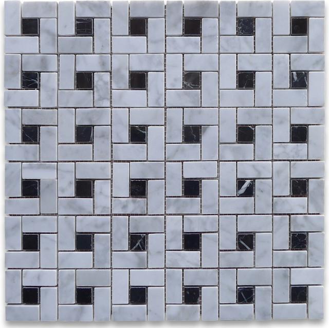 """12""""x12"""" Carrara White Target Pinwheel Windmill Spiral Mosaic Black Dots Polished."""