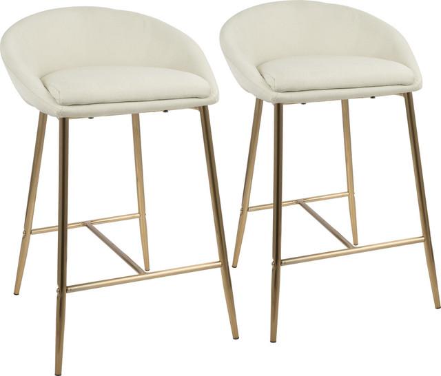 Matisse Counter Stools, Set Of 2, Gold, Cream Fabric.