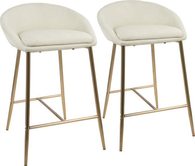 Strange Matisse Glam 26 Counter Stools Set Of 2 Gold Legs Cream Fabric Gmtry Best Dining Table And Chair Ideas Images Gmtryco