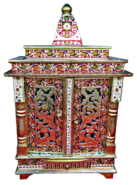 Beautiful Multicolor Home Puja Mandir Hindu Temple Mandapam Altar
