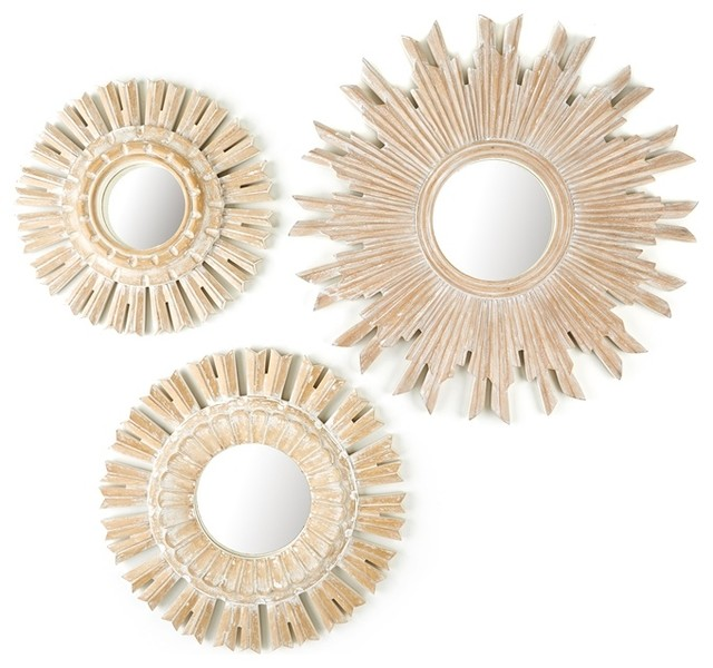 Solstice Set of 3 Hand-Carved Round Wall Mirrors With White-Washed Finish