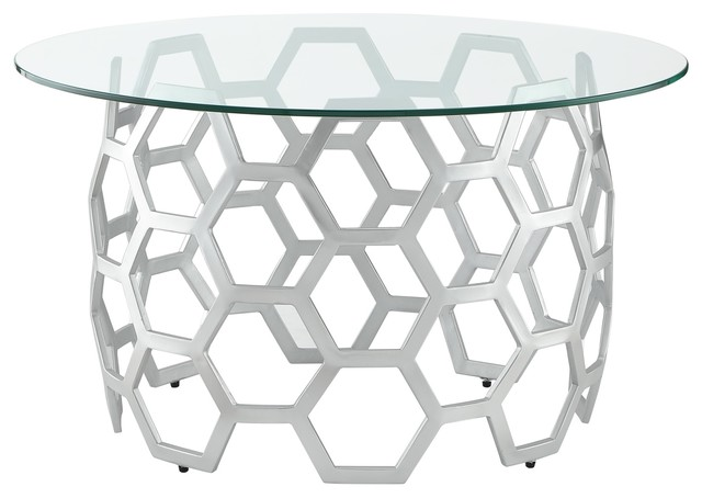 Cool Inspired Home Lulu Coffee Table Round Clear Glass Top Geometric Frame Silver Andrewgaddart Wooden Chair Designs For Living Room Andrewgaddartcom