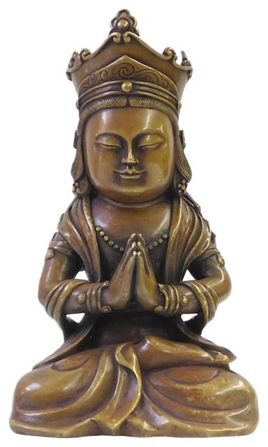 Chinese Fine Bronze Metal Sitting Kwan Yin Buddha Statue