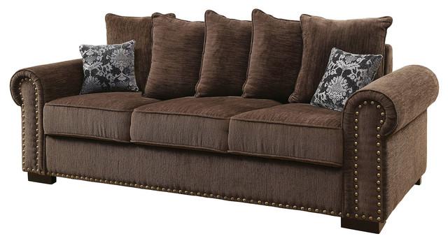 Rydel Transitional Nailhead Trim Chenille Fabric Sofa, Brown Transitional  Sofas
