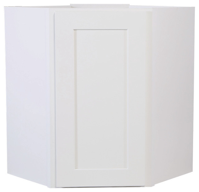 """Brookings 24"""" Fully Assembled Kitchen Corner Wall Cabinet, White Shaker."""