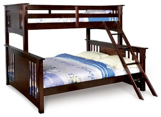 Twin Over Queen XL Long Combo Bunk Bed Dark Walnut Sturdy Hard Wood Mission