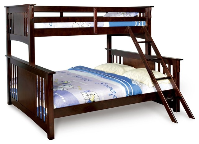 Twin Over Queen Xl Long Combo Bunk Bed Dark Walnut Sturdy