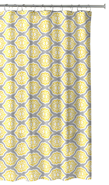 Grey Lemon Yellow Fabric Shower Curtain Modern Floral Moroccan Design With Hook