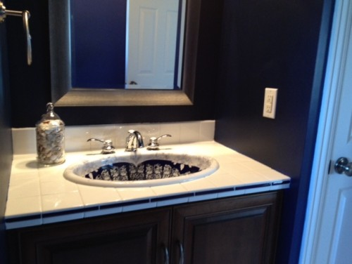 Transitional Master Bathroom With High-Contrast Palette. Navy blue ...