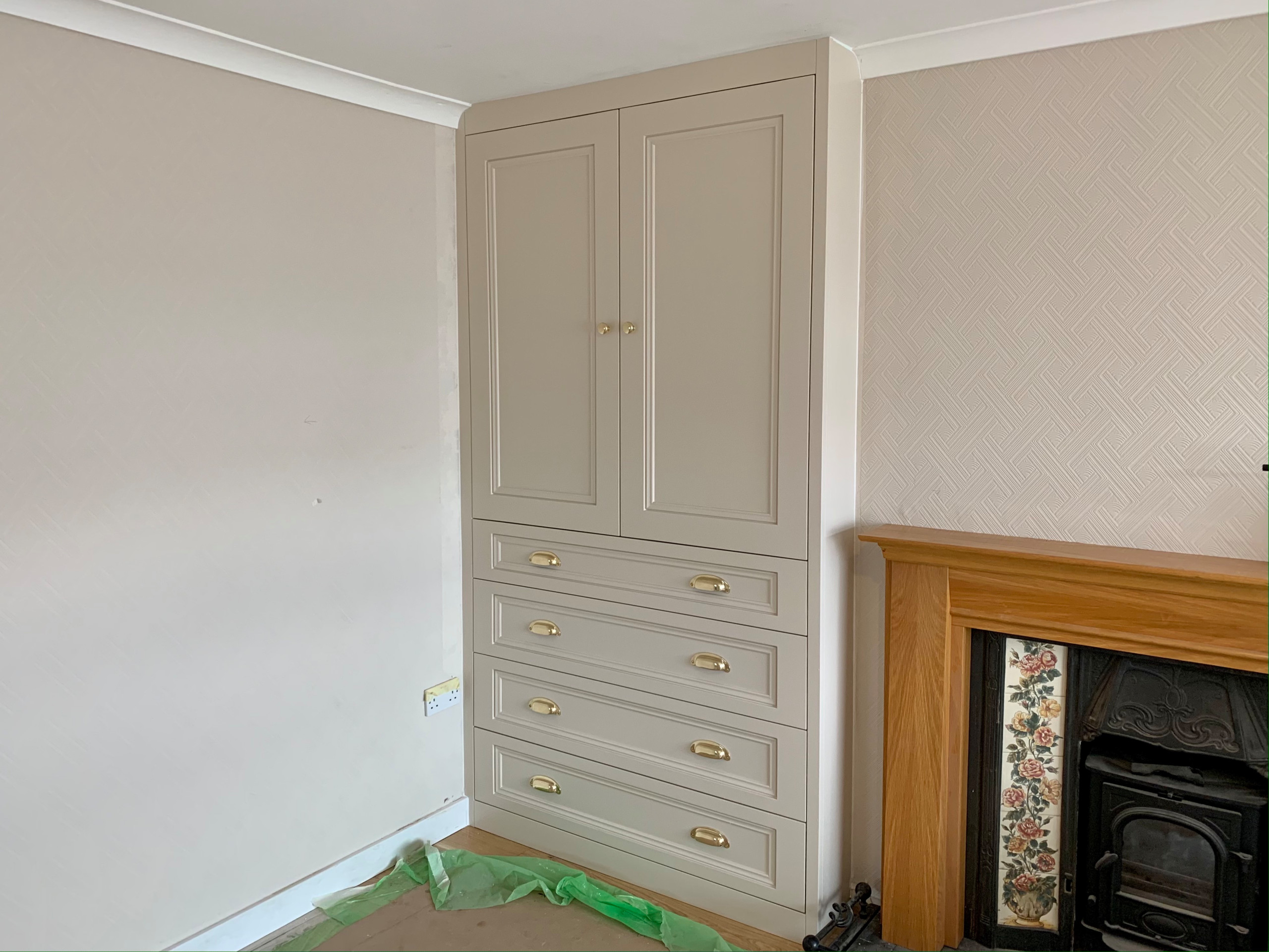 Large Bespoke Fitted Alcove Cabinet with Wide Drawers