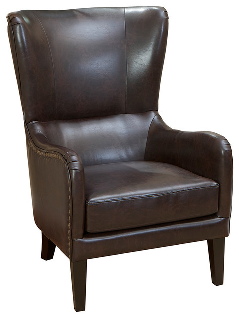 Clarkson Brown Leather Wingback Club Chair  Transitional Armchairs And Accent Chairs
