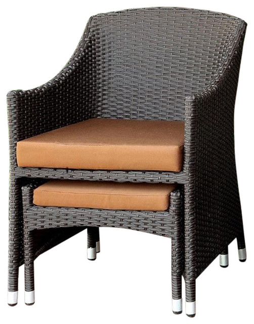Terrific Furniture Of America Matson Patio Wicker Arm Chair With Ottoman Ibusinesslaw Wood Chair Design Ideas Ibusinesslaworg