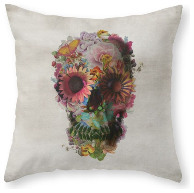 Eclectic Decorative Pillows : Skull 2 Pillow Cover - Eclectic - Decorative Pillows - by Society6