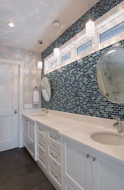 Ardent Residence Organic White Quartz And Blue Shiny 25 50 Backsplash Tile