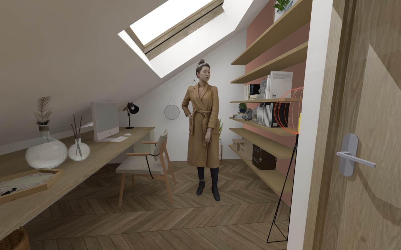 Aménagement des combles d'une maison de plein pied, option 1 le bureau