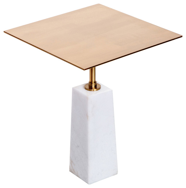 Interlude Beck Modern Clic White Marble Br Square Side Table