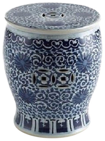 Vintage Style Blue And White Round Flat Top Garden Stool Twisted Lotus  Motif Asian Accent