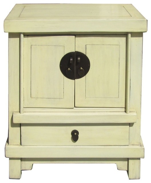 Golden lotus off white cream lacquer end table for Japanese bedside table