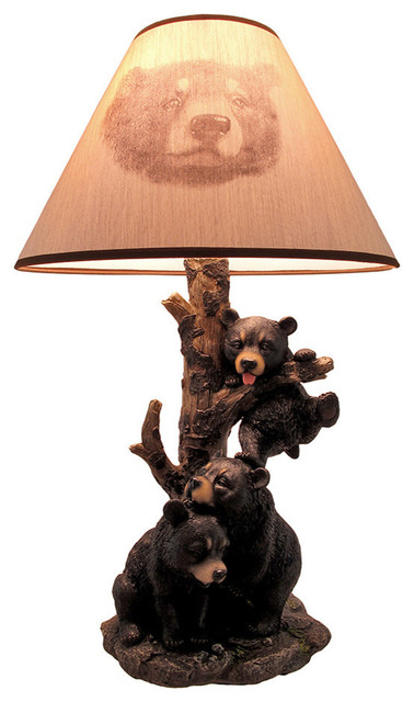 Black Bear Family Table Lamp With Tree Bark Print Shade
