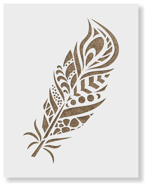 Resuable Wall Stencils Peacock Feather Allover Stencil for Modern DIY Wall Decor