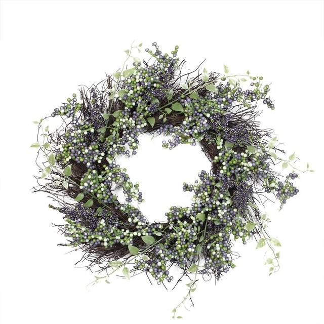 "22"" Decorative Plum Purple and White Artificial Berry Wreath"