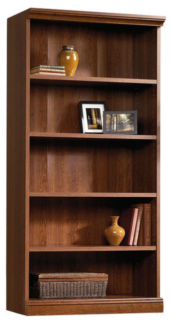 Sauder Camden County Library 5 Shelf Bookcase In Planked Cherry Transitional Bookcases By