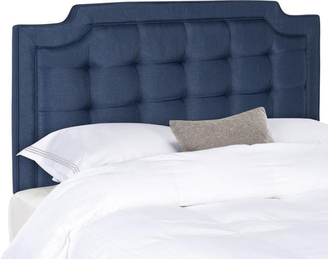 Safavieh Sapphire Tufted Linen Headboard, Navy, King.