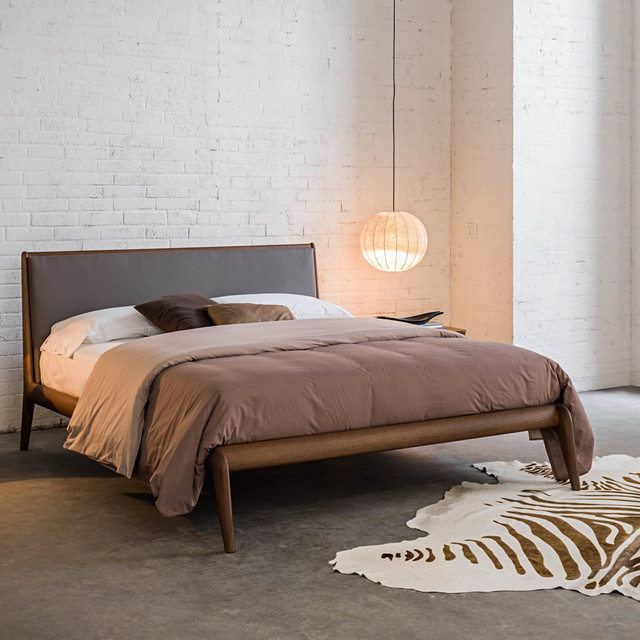 Allyson Contemporary Italian Wooden Bed With Upholstered Headboard By Morut
