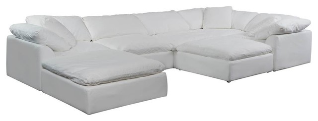 7-Pc Slipcovered Modular Sectional Sofa with Ottomans   Performance Fabric White