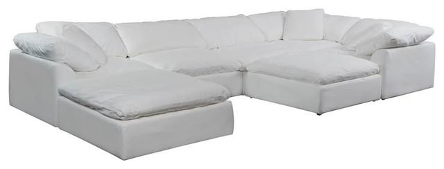 Slipcovered 7 Piece Modular Sectional Sofa Set Transitional