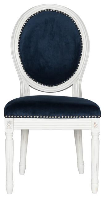 Holloway French Brasserie Oval Side Chairs, Set Of 2, Navy , Velvet.