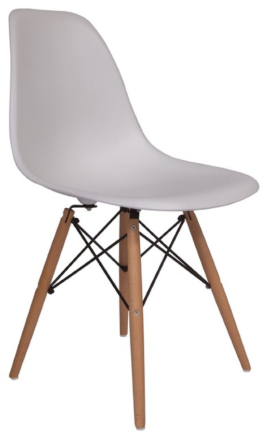 Lemoderno Molded Plastic Side Chair Wood Leg Base White