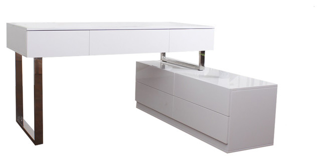 Kd12 Modern Office Desk In White Lacquer Finish.