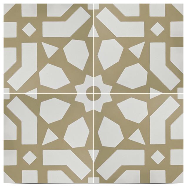 Agdal Handmade Cement Tile Black And White Set Of 12 8