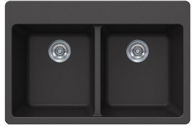 Quartz Composite Double Bowl Undermount/Drop In Kitchen Sink ...