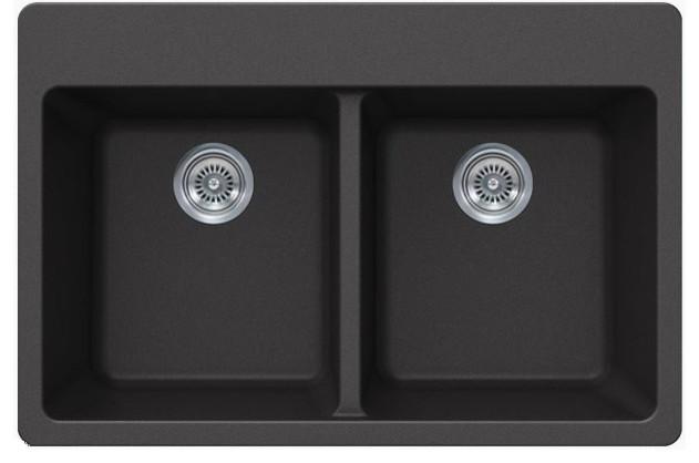 Quartz Composite Double Bowl Undermount Drop In Kitchen