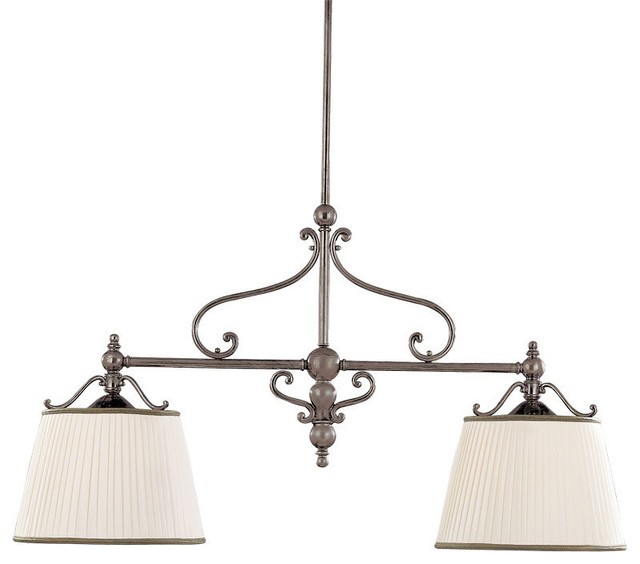 Orchard Park, Two Light Island Light, Aged Brass Finish, Faux Silk Shade